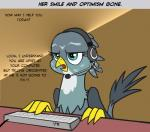 2016 avian beak bird blue_eyes computer_keyboard dialogue feathered_wings feathers female feral fingers gabby_(mlp) headphones headset mammal my_little_pony paws pencils_(artist) simple_background tail_tuft tech_support tuft wings