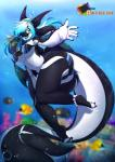 2017 absurd_res anthro bikini blue_eyes breasts cetacean claws clothing dragon female hair hair_over_eye hi_res hybrid long_hair looking_at_viewer mammal marine open_mouth open_smile orca penelope rainbowscreen smile solo swimming swimsuit toe_claws underwater water whale wings