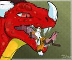 ambiguous_gender anthro body_in_mouth canine dragon duo feral fox inkhling lying male mammal on_back saliva scalie sharp_teeth size_difference teeth tongue vore   Rating: Questionable  Score: 3  User: TarMonster  Date: January 25, 2015