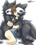 anthro assimilation biped black_fur blue_eyes brown_hair canine changed_(video_game) clothing crying fluffy fur goo_creature hair human lin_(changed) male mammal monster nude puro_(changed) rubber simple_background tears transformation underwear white_background whywhyouo wolf