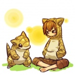 alternate_species brown_hair clothing cosplay duo feral hair hitec hoodie human humanized male mammal nintendo pants pokémon sandshrew short_hair sitting video_games