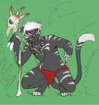 2015 anthro blood bone bone_necklace cat cheskitty clothed clothing crouching feline green_eyes hair jewelry loincloth male mammal piercing simple_background solo topless tribal valaska warpaint