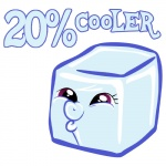 20_percent_cooler alternate_species ambiguous_gender cool_colors cute cyan_body danielalaverne english_text food_creature friendship_is_magic humor ice ice_cube meme my_little_pony pun purple_eyes rainbow_dash_(mlp) simple_background solo text visual_pun white_background