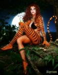 3d agrion anthro bikini black_fur black_stripes cgi clothed clothing crossed_legs curly_hair digital_media_(artwork) feline female fur hair humanoid log looking_at_viewer mammal marvel moon multicolored_fur night orange_fur outside red_hair solo star stripes swimsuit tiger tigra tree two_tone_fur wood  Rating: Safe Score: 5 User: Tigra_Watanabe Date: August 13, 2015
