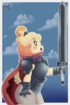 animal_crossing anthro armor berserk bottomwear canid canine canis clothing cloud colored digital_media_(artwork) domestic_dog female gloves handwear hi_res isabelle_(animal_crossing) mammal melee_weapon nintendo panthera_cantus pants scarf shoulder_pads solo sword video_games weapon