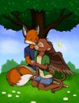 2015 2_tails anthro arthropod barefoot brown_fur butterfly canine clothed clothing cloud couple cuddling cute duo eyes_closed feline female flower fox freckles fur grass hill horn hug hybrid insect katraccoon lion male male/female mammal mouth_closed multiple_tails orange_fur outside plant sky smile tree wings   Rating: Safe  Score: 3  User: dos_tacos  Date: March 16, 2015