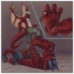 """2011 <3 anthro bdsm chryosstormwing cirez domination dragon duo eyes_closed feet foot_fetish foot_worship licking lying male male/male paws red_skin reptile scalie submissive tongue tongue_out voondabayosh wings  Rating: Questionable Score: 8 User: Anon2909 Date: June 14, 2015"""""""