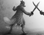 2015 anthro canine chrimson clothed clothing duo fight fox fur hair male mammal melee_weapon rukis smile sword weapon  Rating: Safe Score: 4 User: *Sellon* Date: November 24, 2015