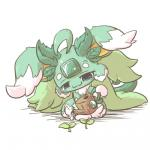 :3 blue_eyes carbuncle earth_light_carbuncle emerald_(disambiguation) feral fur gem green_fur nettsuu plant puzzle_&_dragons simple_background solo video_games water watering_can white_background white_fur