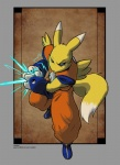 abstract_background anthro blue_eyes canine clothed clothing costume crossover digimon dragon_ball dragon_ball_z facial_markings fox fur gloves hi_res kamehameha male mammal markings pinup pose renamon runwiled simple_background solo standing suit white_fur yellow_fur  Rating: Safe Score: 17 User: queue Date: October 23, 2011