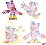 2016 avian beak bird_cage biyomon blue_body blue_eyes blue_feathers claws digimon digimon_(species) english_text feather_tuft feathers female open_mouth phoenixsalover pink_body pink_feathers red_beak red_claws ring_on_leg semi-anthro signature sketch text toe_claws tuft