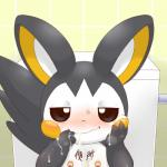 alacarte ambiguous_gender blush cum emolga feral looking_at_viewer messy nintendo nipple_piercing nipples piercing pokémon simple_background solo video_games