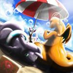 ambiguous_gender beach blue_eyes bubble claws cloud day dessert dragonite dutch_angle eating eeveelution eyes_closed feral food goodra group hi_res hurikata ice_cream inflatable lens_flare low-angle_view lying membranous_wings nintendo on_front orange_skin outside parasol pokémon pokémon_(species) pool_toy seaside sitting sky sun sunlight sweat swim_ring sylveon video_games wings
