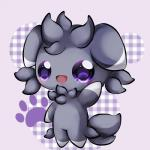 abstract_background ambiguous_gender big_eyes chibi espurr fur grey_fur nintendo open_mouth open_smile pokémon pokémon_(species) purple_eyes smile solo video_games waving 布丁プリン❤