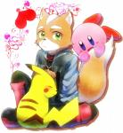 <3 alien anthro black_nose blush boots canine crossover eyes_closed fox fox_mccloud fur green_eyes happy holidays jacket kirby kirby_(series) male mammal nintendo onyuuuu pikachu pokémon rodent scarf sitting star_fox super_smash_bros valentine's_day video_games   Rating: Safe  Score: 4  User: Cαnε751  Date: February 15, 2015