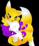 """anthro blue_eyes breasts canine claws clothing cute digimon elbow_gloves facial_markings female fox fur gloves insomniac-platypus looking_at_viewer mammal mane markings renamon solo tuft yellow_fur  Rating: Safe Score: 0 User: insomniac_platypus Date: August 17, 2009"""""""