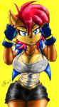"""2015 akatsukishiranui-fox anthro big_breasts bipedal blue_eyes breasts chipmunk cleavage clothed clothing female hair mammal red_hair rodent sally_acorn solo sonic_(series) sweat thong  Rating: Safe Score: 15 User: Robinebra Date: June 04, 2015"""""""