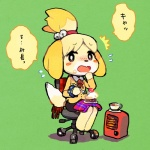animal_crossing anthro beverage blush cake canine dog female food isabelle_(animal_crossing) japanese_text looking_at_viewer mammal nintendo shih_tzu solo tea text translation_request video_games  Rating: Safe Score: 8 User: Juni221 Date: October 10, 2014
