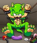 absurd_res amuzoreh anal_beads anthro anus ball_gag balls bdsm blue_eyes bondage bound butt chain clenched_teeth collar dildo erection fur gag green_body green_fur half-closed_eyes hedgehog hi_res leash male mammal penis scar scourge_the_hedgehog sex_toy shaded sitting solo sonic_(series) spread_legs spreading sweat teeth   Rating: Explicit  Score: 3  User: Jatix  Date: April 14, 2014