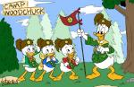 4_fingers anthro avian bird bottomless boy_scout clothed clothing dewey_duck digital_drawing_(artwork) digital_media_(artwork) disney donald_duck duck feathers flag grass group harara hat hi_res holding_object huey_duck looking_at_another looking_down looking_up louie_duck neckerchief open_mouth open_smile pine_tree rock salute scouts signature sky smile standing tail_feathers tree webbed_feet white_feathers