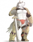 abs armor biceps big_muscles blue_eyes bulge canine fundoshi fur grey_fur gudam loincloth male muscles pecs plain_background pose solo standing sword topless underwear weapon wolf   Rating: Questionable  Score: 8  User: H4CH1W4AN  Date: July 07, 2013