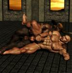 2014 3d abs anal anal_penetration anthro armpit_hair armpits bald balls biceps big_muscles black_howler body_hair bovine brown_fur brown_skin cgi chest_hair cum duo erection facial_piercing fist from_behind fur hair horn human human_feet humanoid_penis jewelry lying male male/male mammal masturbation minotaur mohawk muscles nipples nose_piercing nose_ring nude on_side open_mouth pecs penetration penis piercing plantigrade tattoo thick_penis   Rating: Explicit  Score: 14  User: lizardlover  Date: June 27, 2014