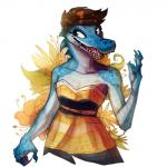 2016 anthro blue_claws blue_scales breasts brown_eyes brown_hair claws clothed clothing crocodile crocodilian female fivel flower hair open_mouth plant reptile scales scalie scampi sharp_teeth simple_background small_breasts smile solo spikes teeth tongue white_background white_scales  Rating: Safe Score: 7 User: GameManiac Date: April 14, 2016