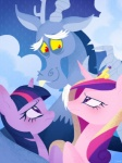 2014 antlers cloud crown discord_(mlp) draconequus equine fangs female friendship_is_magic gold group hair horn horse male mammal multicolored_hair my_little_pony pony princess_cadance_(mlp) purple_eyes quere raining red_eyes sky twilight_sparkle_(mlp) winged_unicorn wings   Rating: Safe  Score: 8  User: 2DUK  Date: January 30, 2014