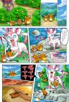 ambiguous_gender blue_eyes comic dedenne eeveelution female feral group japanese_text mammal nintendo open_mouth outside pokebean pokemoa pokémon pokémon_(species) ribbons rodent smile sylveon text tongue translated video_games