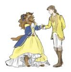anthro beast_(disney) beauty_and_the_beast belle_(disney) bow clothing crossgender dc9spot digitigrade dress duo female hair hand_holding horn human long_hair male mammal ribbons simple_background white_background  Rating: Safe Score: 25 User: chdgs Date: January 25, 2014