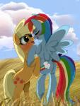 applealba applejack_(mlp) blonde_hair blue_fur blush cloud cutie_mark equine eyes_closed female freckles friendship_is_magic fur green_eyes hair horse lesbian mammal multi-colored_hair my_little_pony orange_fur outside pegasus pony rainbow_dash_(mlp) rainbow_hair wings   Rating: Safe  Score: 8  User: Lunaz  Date: April 13, 2014