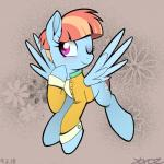 2018 blue_feathers blush bottomless clothed clothing cute cutie_mark equine eyebrows eyelashes feathered_wings feathers female feral flower flying freckles friendship_is_magic full-length_portrait grey_background hair hi_res mammal multicolored_hair my_little_pony one_eye_closed orange_hair pegasus plant portrait purple_eyes shirt short_hair signature simple_background smile solo sparkles two_tone_hair windy_whistles_(mlp) wings wink yorozpony