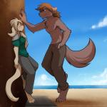 against_wall anthro barefoot basitin beach blush brown_eyes brown_fur brown_hair canine chest_tuft clothed clothing cloud crossgender digitigrade duo ears_back embarrassed female flirting fur hair happy hi_res keidran keith_keiser larger_anthro larger_male long_hair male mammal muscular natani one_leg_up outside pants sand sea seaside side_view size_difference sky smaller_anthro smaller_female smile smug sweat tan_fur tan_hair tom_fischbach topless tuft twokinds water webcomic wolf