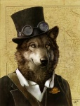 2010 absurd_res amber_eyes anthro australia australian black_fur black_nose brown_fur canine clothed clothing coat countershading digital_media_(artwork) eyewear fur goggles grey_fur hat hi_res jacket looking_at_viewer male mammal map novawuff portrait shirt signature simple_background smile solo steampunk suit tan_background toff top_hat whiskers white_countershading wolf yellow_eyes