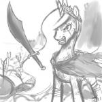 300 angry arrow arrowed cape crossover equine female feral friendship_is_magic horn john_joseco king_leonidas mammal my_little_pony parody princess_celestia_(mlp) solo sword weapon winged_unicorn wings   Rating: Questionable  Score: 7  User: Robinebra  Date: May 04, 2014