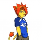 clothing feline hair lion looking_at_viewer male mammal morenatsu pants shirt solo soutaro standing unknown_artist   Rating: Safe  Score: 6  User: BlackBoltEX  Date: August 25, 2013