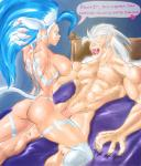 2015 <3 abs animal_ears anthro areola arms_behind_head back bed biceps big_breasts blue_hair breasts butt canine cat_ears claws darkstalkers dialogue duo english_text erect_nipples fangs felicia_(darkstalkers) female flaccid green_eyes grey_hair hair huge_breasts humanoid_penis jon_talbain kneeling lying male male/female mammal muscles muscular_female nipples nude on_back on_top open_mouth orange_eyes pecs penis smile straddling teeth text toned tongue unknown_artist vein video_games were werewolf white_hair   Rating: Explicit  Score: 3  User: Robinebra  Date: March 13, 2015
