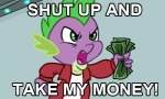 clothing dragon english_text friendship_is_magic futurama green_eyes humor male meme money my_little_pony scalie solo spike_(mlp) text unknown_artist   Rating: Safe  Score: 3  User: Wtfhmonster  Date: June 23, 2011