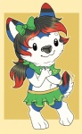 2015 anthro aster bow canine chibi clothed clothing cute dog fur girly hair half-dressed husky long_hair male mammal monsterroo plain_background skirt smile solo standing topless   Rating: Safe  Score: 0  User: TehBlueHusky  Date: February 07, 2015