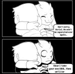 2016 anthro asriel_dreemurr black_and_white boss_monster caprine chara_(undertale) clothed clothing comic creepy crying dialogue english_text fatz_geronimo friends happy hug human locket long_ears male mammal monochrome scared simple_background smile sweater tears text undertale video_games  Rating: Safe Score: 7 User: Just_Another_Dragon Date: March 01, 2016