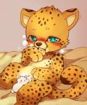ambiguous_gender bite blue_eyes blush camelid cheetah feline fur huiro llama llamama mammal saliva size_difference spots yellow_fur  Rating: Questionable Score: 6 User: slyroon Date: September 11, 2014