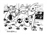 anthro bed blush breasts canine digimon dildo duo female fox line_art male male/female mammal megawolf77 monochrome neck_ruff nipples renamon sex_toy tongue  Rating: Explicit Score: 1 User: Burninghart Date: June 14, 2010