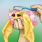 2013 balddumborat bat bat_pony bat_wings brushie_brushie_brushie cute cutie_mark disembodied_hand duo equine fangs female feral flutterbat_(mlp) fluttershy_(mlp) friendship_is_magic gradient_background hair holding_character holding_object human hybrid long_hair looking_at_viewer mammal membranous_wings meme my_little_pony nude pink_hair realistic_wings red_eyes simple_background solo_focus toothbrush unimpressed wings