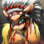 2015 amazing applejack_(mlp) blonde_hair cutie_mark earth_pony equine face_paint feathers female feral friendship_is_magic green_eyes hair headdress hi_res horse jewelry looking_at_viewer mammal my_little_pony native_american necklace pony portrait santagiera solo teeth