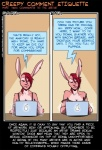 anthro breasts cleavage clothed clothing comic comment commentary comparison computer dialogue ear_piercing english_text fabinella female food fruit hair how-to lady_snakebite lagomorph laptop mammal pear piercing rabbit red_eyes red_hair shirt sitting solo tank_top text