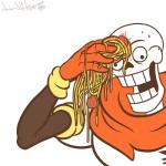 animated_skeleton armwear bone cape clothing derp_eyes food gloves hi_res male meatball meme not_furry open_mouth papyrus_(undertale) parody pasta reaction_image simple_background skeleton solo spaghetti sweat teeth undead undertale video_games white_background wide_eyed wipe wonder-waffle