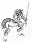 2014 anthro armor collaboration coyox fangs feline female looking_up mammal monochrome open_mouth qzurr sabertooth solo standing sword traditional_media_(artwork) weapon   Rating: Safe  Score: 6  User: Kaik  Date: January 06, 2015