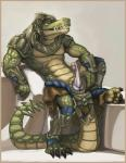 anatomically_correct anatomically_correct_penis animal_genitalia anthro armor biceps claws cloaca clothing crocodile erection gauntlets greaves headwear league_of_legends loincloth male muscles penis renekton reptile scales scalie sitting solo suzu4649 teeth video_games yellow_eyes  Rating: Explicit Score: 15 User: Airduinec Date: July 09, 2015