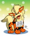 2014 ambiguous_gender arcanine black_fur blonde_hair canine coshi-dragonite cute dogshaming english_text feral fur hair hi_res humor looking_at_viewer mammal meme nintendo nude open_mouth paws pokémon pokémon_(species) pokéshaming red_eyes red_fur sign sitting smile solo stripes teeth text tongue tongue_out video_games yellow_fur
