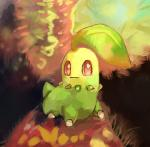 2013 abstract_background chikorita digital_media_(artwork) digital_painting_(artwork) green_skin hi_res leaf lizardoneievui13 nintendo pokémon pokémon_(species) red_eyes small_tail smile solo video_games white_pupils
